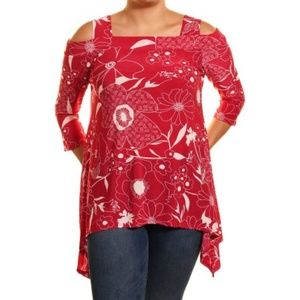 NWT Cold Shoulder Asymmetrical floral tunic top